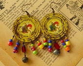 Round La Chouffe recycled bottle cap earrings with beads