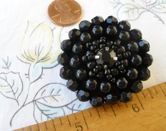 Large Black Beaded & Rhinestone buttons 40MM 65L flower faceted sewn beads fabric cover shank button embellish retro mid century fancy
