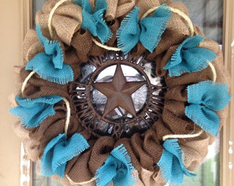 Burlap Wreath, Turquoise Burlap Western Wreath, Rustic Wreath, Welcome Friends And Family Sign