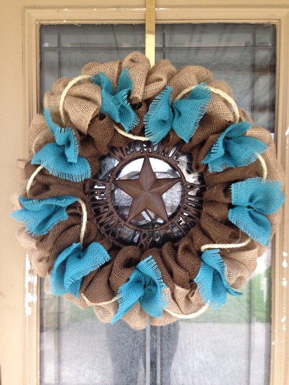 Burlap Wreath Turquoise Burlap Western Wreath Welcome
