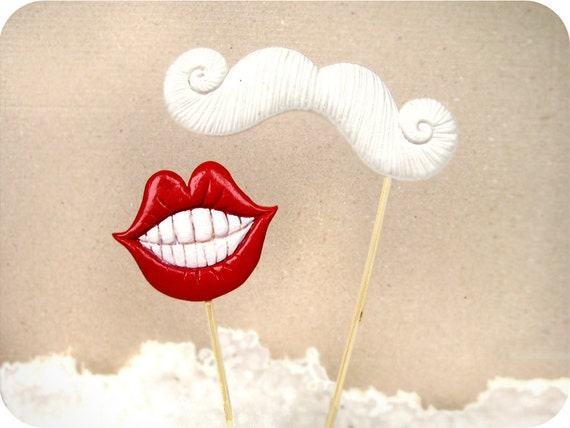 Two Plastic Mustache and Lips on a  Stick - Christmas, New Year, Wedding party photobooth props-Set of 2