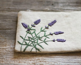 Hand embroidered Lavender Flowers on Natural Linen and Cotton Zipper Pouch, Nature Inspired Floral Cosmetic Bag, Countryside Accessories