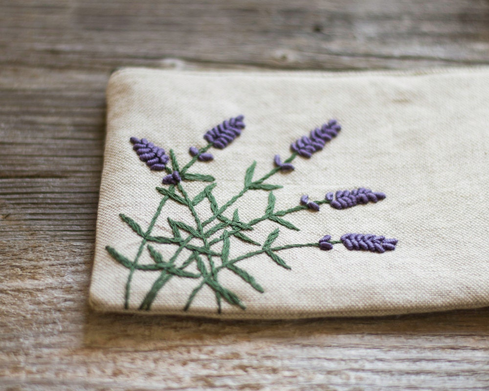 Hand embroidered lavender flowers on natural linen and cotton