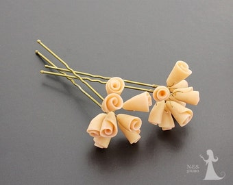 Wedding bridal hair pins - 2pcs - made to order - wedding accessories - Bridal retro bouquet Roses hair piece - rosebuds jewelry Israel