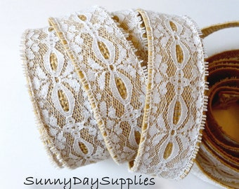 Burlap and White Lace Ribbon, FREE SHIPPING, 8 YARDS, 1 3/8 inches wide, 100% Natural Burlap, Wired, Wedding Ribbon, Lace on Burlap,