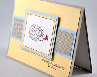Thank You Greeting Card, Thanks, Friend, Hedgehog, Yellow, Blue, Brown, Butterfly, Stamped, Blank Inside, For Him, For Her