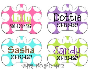 Pet Tag - Pet ID - Personalized Dog Tag - Custom Pet name tag - Choose Your Design - Dotted Row
