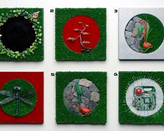 Macro worlds three panel wall art