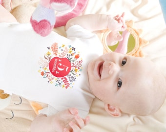 Unique Flower Circle Baby Girl Monthly Onesies, 12 Month Set, Perfect Baby Shower Gift