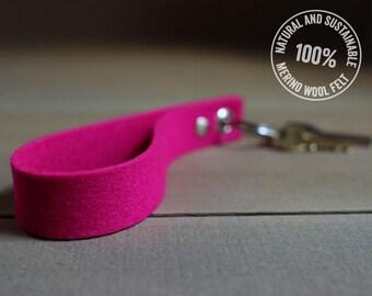Pink Keychain - Felt Key Fob - Hot Pink