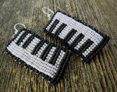 Handmade Micro Macrame Keyboard Earrings in Black & White with Sterling Silver Hoops