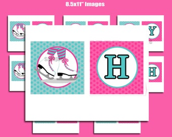 Ice Skating Happy Birthday Banner Printable - Ice Skating Love Collection