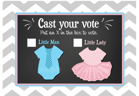 50% OFF SALE - Gender Reveal Voting Cards Printable - Little Man or Little Lady - Ties or Tutus Collection