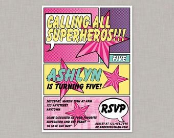 Girl Superhero Invitation, Girl Superhero Birthday Invitation