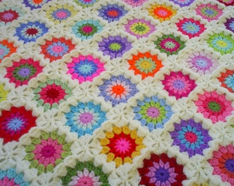 colorful crochet granny square blanket