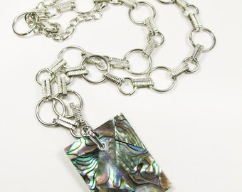 Shell Necklace, Paua Shell / Abalone Shell Necklace. Ships from US - Collier de Coquillages de Mer.