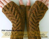PDF KNITTING PATTERN // Cable Knit Fingerless Mittens // Instant Download