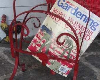 Vintage Farm style unique wrought iron magazine rack