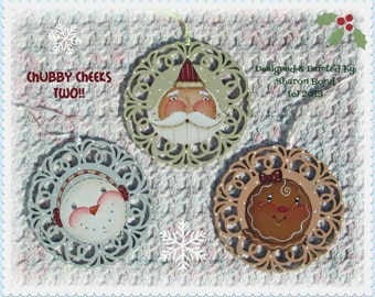 E PATTERN -  Chubby Cheeks TWO! 3 Designs with Smiling Chubby Cheeks for Ornaments  Painted & Designed by Sharon Bond - FAAP