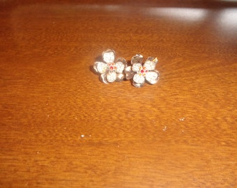 vintage screw back earrings goldtone silvertone rhinestones
