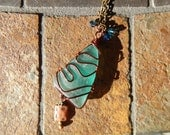Sea Glass Necklace Wire Wrapped Blue Seaglass