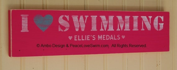 Personalized Swimming Ribbon Wall Rack - Gift for Swimmer
