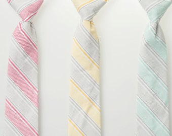 Boys Neckties - Gray Stripes - Pink, Yellow, or Mint - Ring Bearer Ties