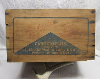 Wooden Libbys Canned Meat Shipping Box, wooden box, grocery collectibles