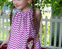 Frozen Anna Dress, Pillowcase Dress, Purple Chevron and Teal, Ice Princess, Frozen Sisters, Disney Movie Inspired, Size 2T to 14