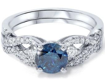 Blue & White Diamond 1.75CT Infinity Engagement Ring Set 14K White Gold