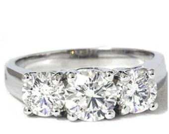 Diamond 2.00CT VS Three Stone Engagement 14K Gold Ring