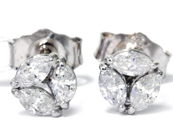 Marquise .30Ct Diamond Studs G/SI 14K White Gold 4.6MM Wide