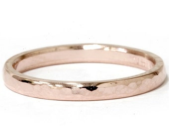 2MM 14K Rose Gold Hammered Stackable Wedding Band