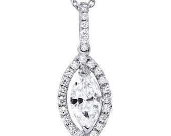 Marquise Halo Diamond Solitaire Dangle Pendant 18k White Gold VS .83CT Marquise Halo Diamond Solitaire Dangle Pendant 18k