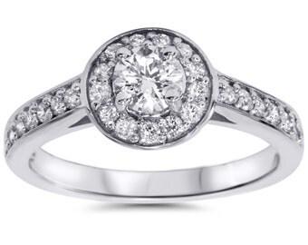 Diamond .70 cttw Halo Engagement Ring 14K White Gold Round Brilliant Cut Size 4-9