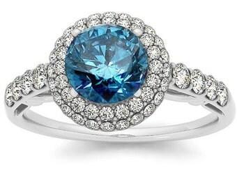 1.75CT Blue Diamond Vintage Halo Engagement Ring Antique FIligree Art Deco Style 14K White Gold Size 4-9