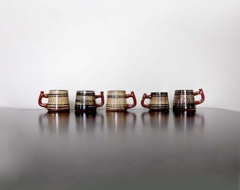 Set of five Vintage 1970s Shot Glasses with Handles. Rustic Ceramic Barrels. Soviet Made.