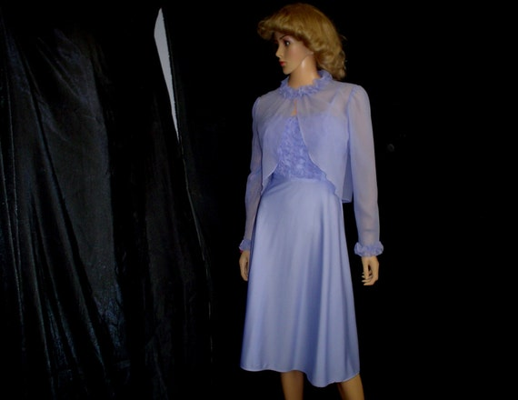 70s S Deadstock Polyester Flared Cocktail Disco Dress & Jacket Lavender Purple