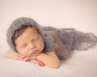 Fuzzy thunder gray lacy mohair crochet newborn round back bonnet baby gender neutral hat photography prop -made to order