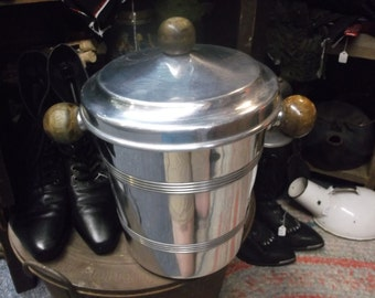 Chrome Colored Wooden Handled Ice Bucket