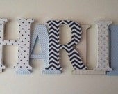 Wooden letters for nursery in navy blue,tan and sky
