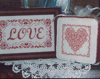 WAXING MOON DESIGNS Love One Color Wonders counted cross stitch patterns at thecottageneedle.com Valentine's Day wedding anniversary