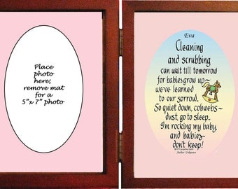 "Cleaning and Scrubbing can wait-personalized gift for new mom 5"" x 7"""