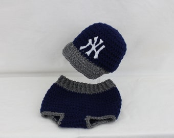 BaseBall Hat and Diaper Cover NY inspier
