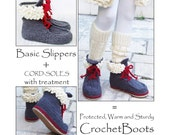 2in1-PACKAGE for ADULT Winter Slipper-Boots with Fur and Laces, incl Tailored CORD-Soles with Treatment  - Instant Download
