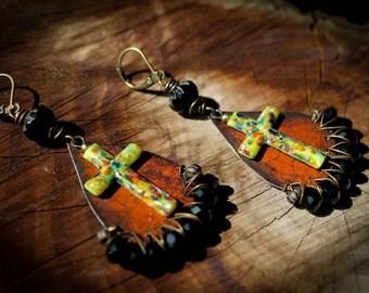RUGGED RELIGION, rustic tin earrings, Boho gypsy, millefiori glass crosses, cross earrings, red, yellow, black, rustic, vintage glass,