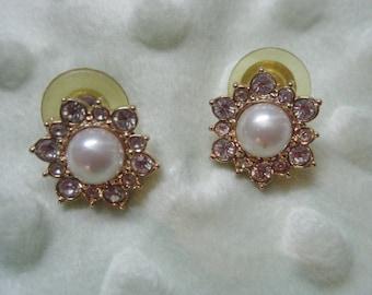 Vintage Marvella Post  Pierced Earrings Faux Pearl and Rhinestone Gold Tone Metal, Bridal Jewelry