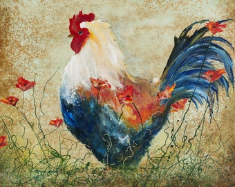 Country Chic Art, Abstract Rooster and flowers art print, gift kitchen Art