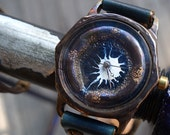 Vintage Retro Steampunk Handcraft Watch with Leather Strap /// Bluehole - Perfect Gift for Birthday and Anniversary