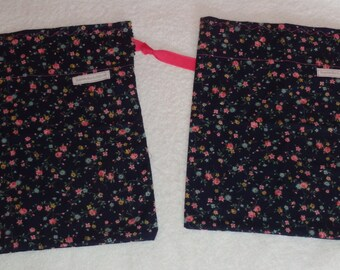 Drawstring Gift Bags, Navy Floral Bags, All Occasion Gift Wrap, Small Fabric Gift Bags, Set of Two